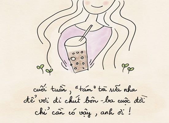caption trà sữa